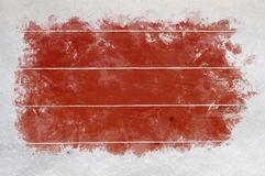 Red Wood with Scraped Snow Borders Stock Images