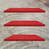3 Red Wood Shelves Table Royalty Free Stock Photography