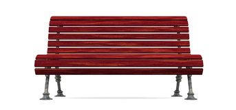 Red wood slat bench isolated Royalty Free Stock Images