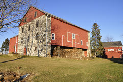 Red wood and stone barn Royalty Free Stock Images