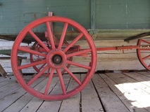 Red Wood Wagon Wheel Royalty Free Stock Photo