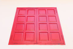 Red wood window. On the concrete wall royalty free stock images