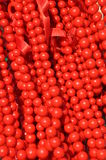 Red wooden beads Stock Photography