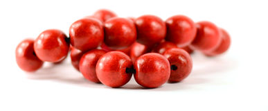 Red wooden beads isolated with clipping paths Royalty Free Stock Image