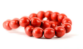 Red wooden beads isolated with clipping paths Stock Photography