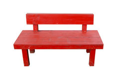 Red wooden bench Stock Images
