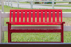 Red wooden bench Stock Image