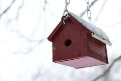Red Wooden Bird House hanging from a tree branch in the falling. Snow Stock Images
