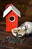 Red wooden bird house with seed. On wood stock photo