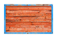 Red wooden boards in blue metal frame Royalty Free Stock Photography