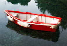 Red wooden boat Stock Photos