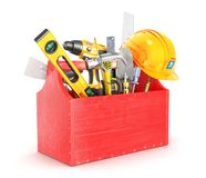 Red Wooden Box Full Of Tools. 3d Illustration Stock Photo