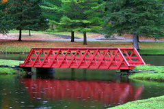 Red Wooden Bridge Stock Images