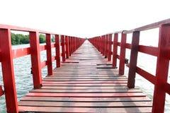Red wooden bridge. stock images