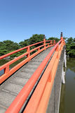 Red wooden bridge Royalty Free Stock Images