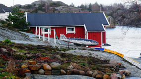 Red wooden building fisherman Stock Photos