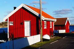 Red wooden cabins Royalty Free Stock Image