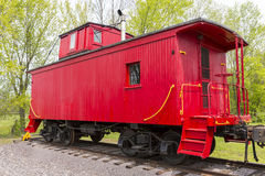 Red Wooden Caboose stock photo