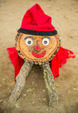 Red wooden christmas mascot in Barcelona Stock Images