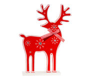Red wooden Christmas reindeer isolated on white background. Classic red wooden Christmas reindeer isolated on white background Stock Photos