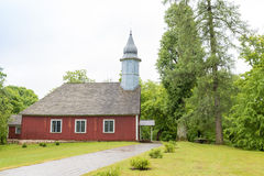 Red wooden church stock image
