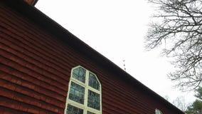 Red Wooden Church At Skansen, Stockholm stock footage