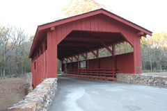 Red Wooden Covered Bridge Royalty Free Stock Images