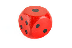 Red wooden die on white Stock Photos