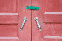 Red wooden door Stock Images