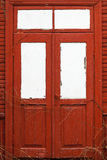 Red wooden door. Stock Photo