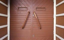 Red wooden door Stock Image