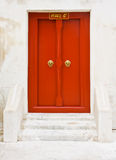 The red wooden door of Thai temple Royalty Free Stock Images