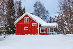 Red wooden Finnish house Royalty Free Stock Image