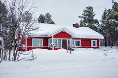 Red wooden Finnish house Stock Photo