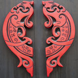 Red wooden fishes. With chinese traditional characters Stock Photo