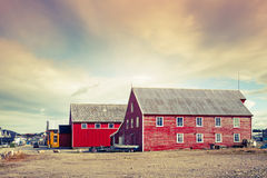 Red wooden fishing barns on the coast, Norway Royalty Free Stock Photo