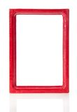 Red wooden frame for pictures or the photos. Isolated on white vector illustration