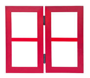 Red wooden frame on white background Royalty Free Stock Images