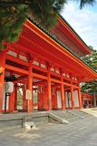 Red wooden gate of Heian Shrine in Kyoto, Japan. Royalty Free Stock Image