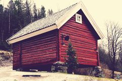 Red wooden granary Stock Images