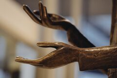 Red Wooden Hand Statue Royalty Free Stock Image