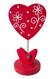 Red wooden heart. Shape on white background Royalty Free Stock Image
