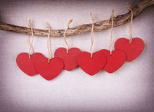 Red wooden heart Royalty Free Stock Photos