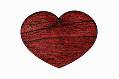 Red wooden heart closeup, object is isolated on white background.The heart-symbol and sign of Valentine`s Day Stock Photo