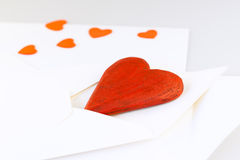 Red Wooden Heart in Envelope Stock Images