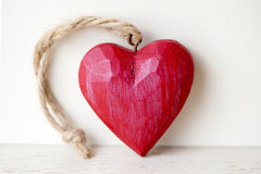 Red wooden heart Royalty Free Stock Images