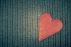 Red Wooden Heart on Knitted Background Stock Photography