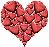Red Wooden Heart with many Hearts Royalty Free Stock Images