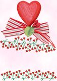 Red wooden heart with ribbon and roses Royalty Free Stock Photography