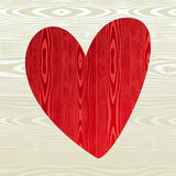 Red wooden heart shape Stock Images
